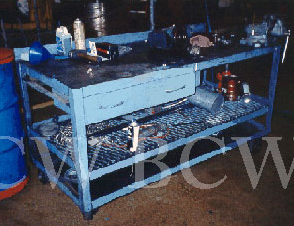 Custom-made steel work table